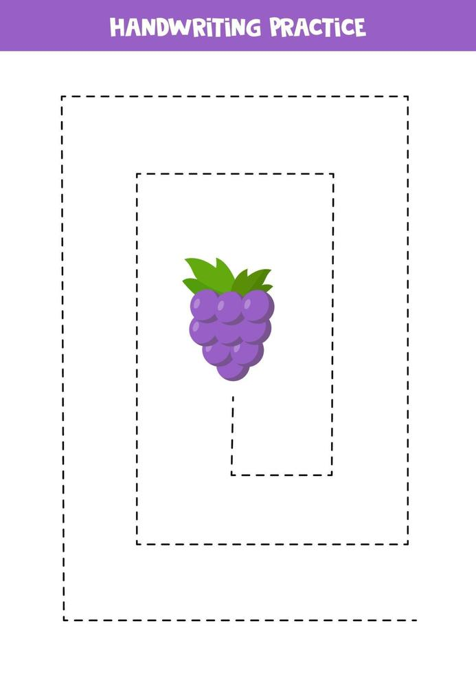 tracciare linee con l'uva. pratica di abilità di scrittura per bambini. vettore