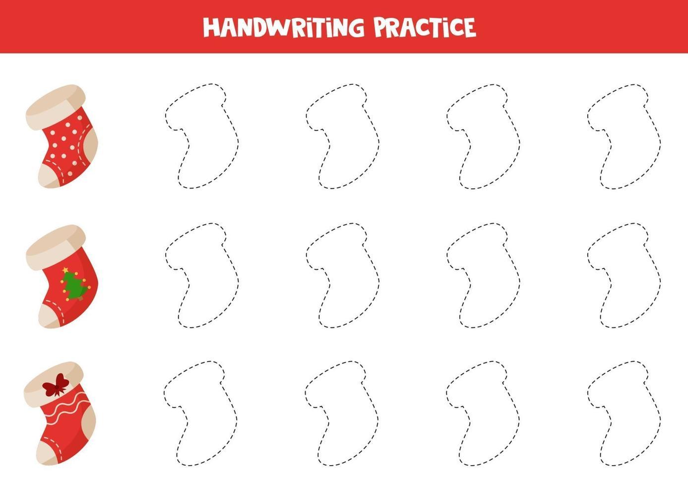 tracciando linee con calzini natalizi dei cartoni animati. pratica di abilità di scrittura. vettore