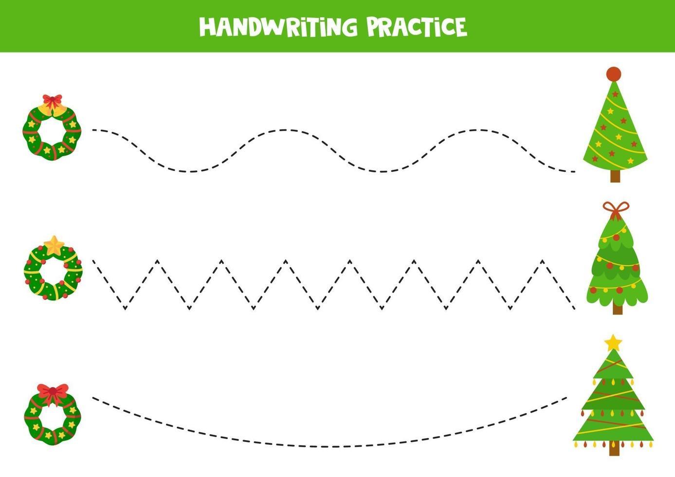 tracciare linee tra abeti natalizi e ghirlande. vettore