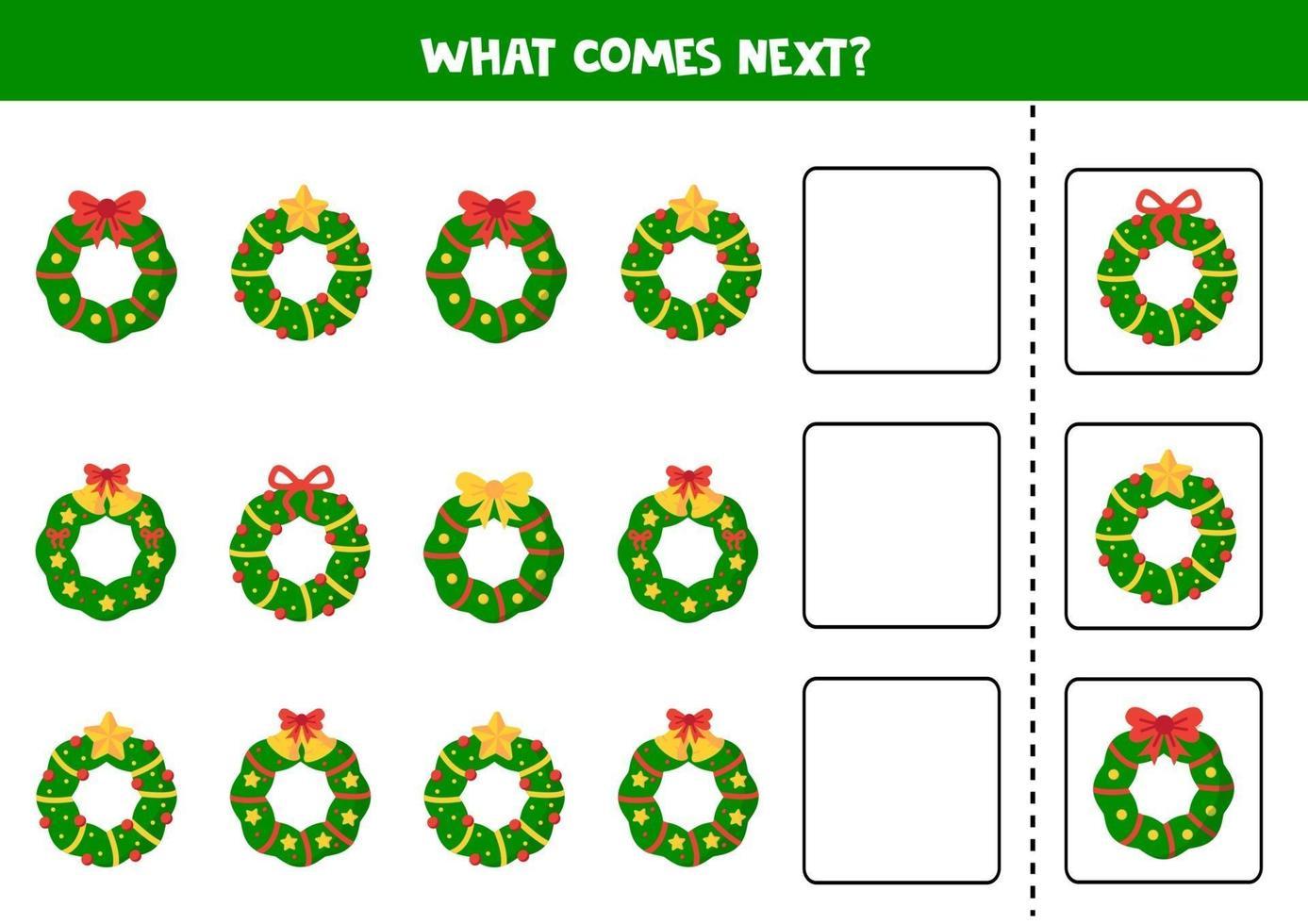 quale ghirlanda di Natale viene dopo. foglio di lavoro logico per bambini. vettore