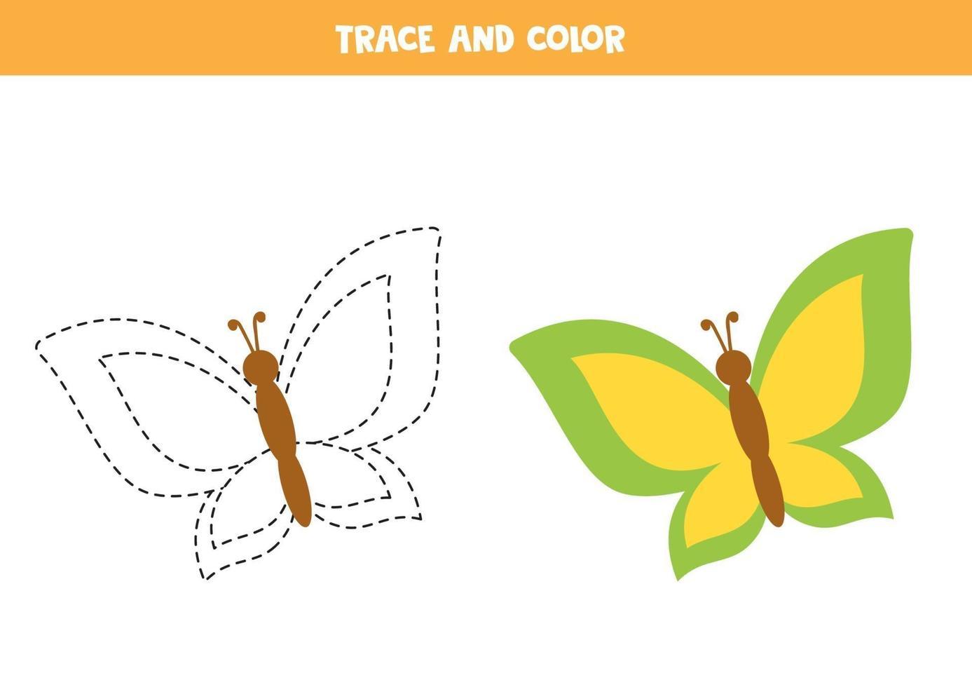 traccia e colora una farfalla carina. foglio di lavoro spaziale per bambini. vettore