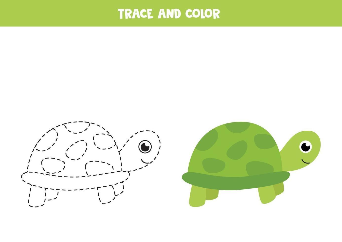traccia e colora una tartaruga carina. foglio di lavoro spaziale per bambini. vettore