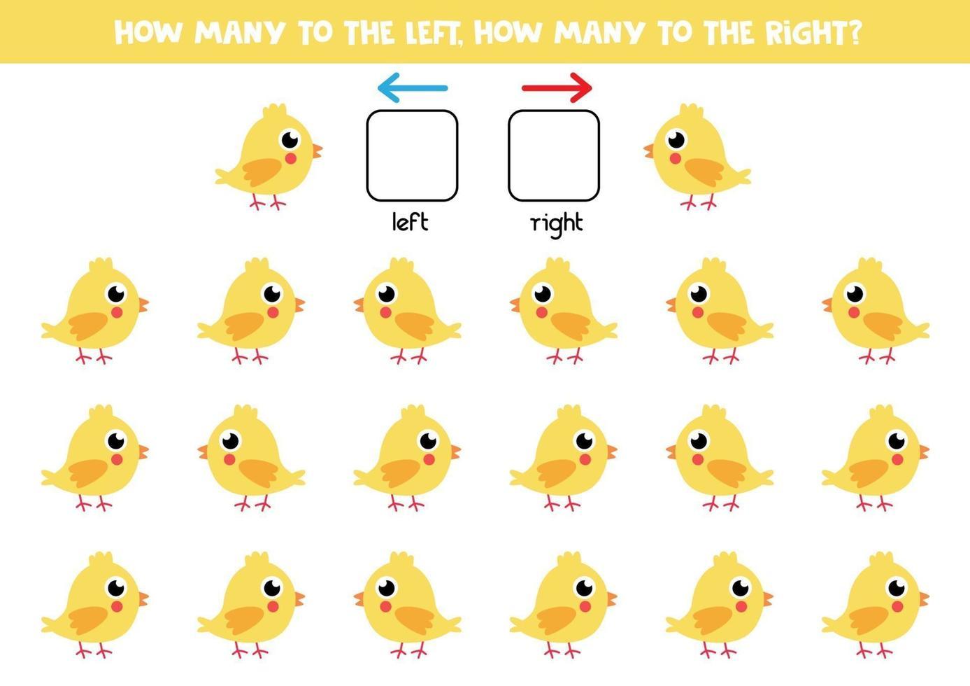 a sinistra oa destra con il pollo. foglio di lavoro logico per bambini in età prescolare. vettore