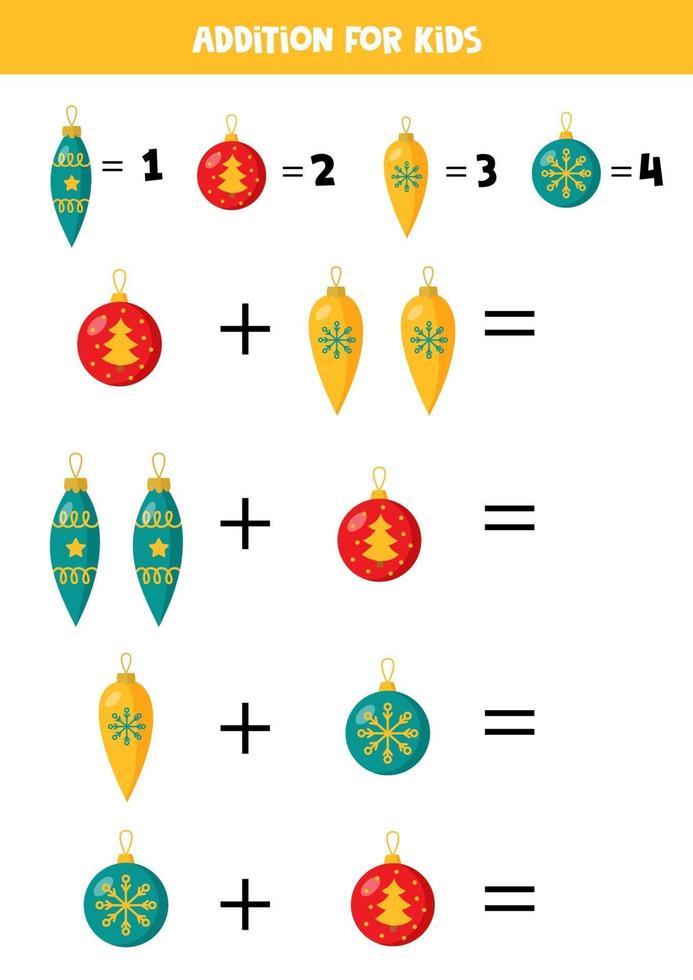 aggiunta con le palle di natale. gioco matematico per bambini. vettore