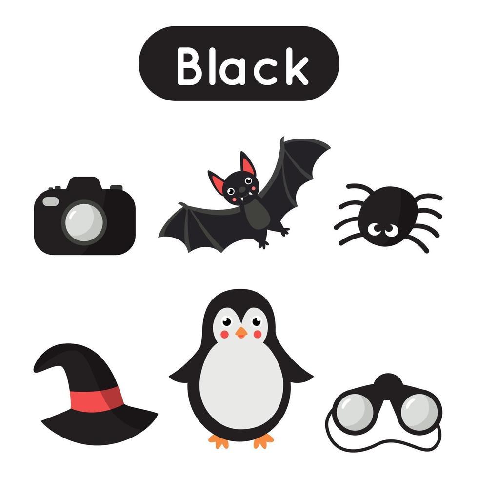 imparare il colore nero per i bambini in età prescolare. foglio di lavoro educativo. vettore