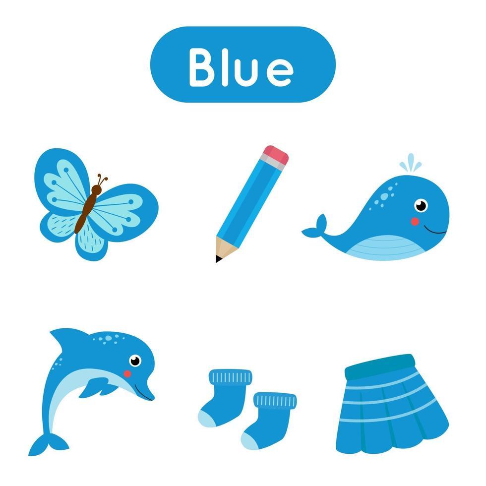 imparare il colore blu per i bambini in età prescolare. flashcard divertente. vettore