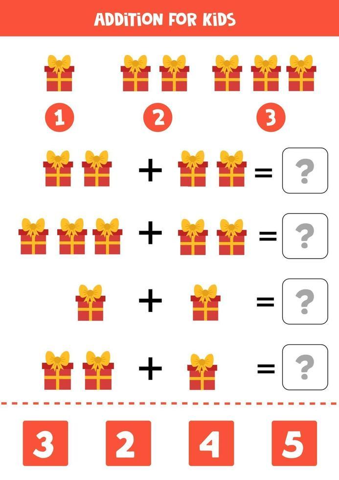 gioco di matematica educativo per bambini. aggiunta con scatole regalo. vettore