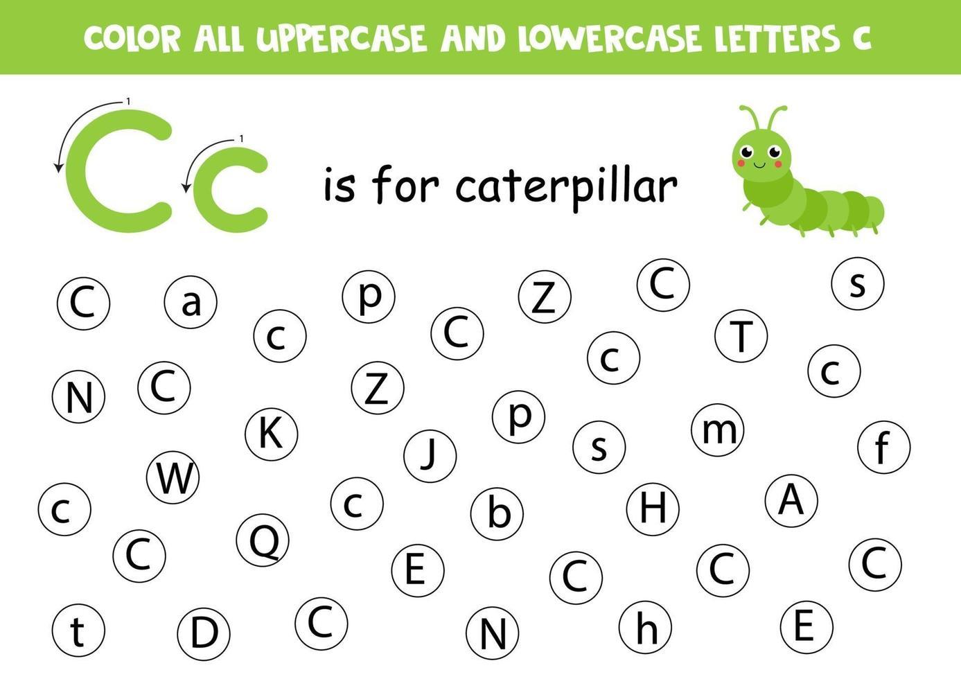 trova e colora tutte le lettere c. giochi di alfabeto per bambini. vettore