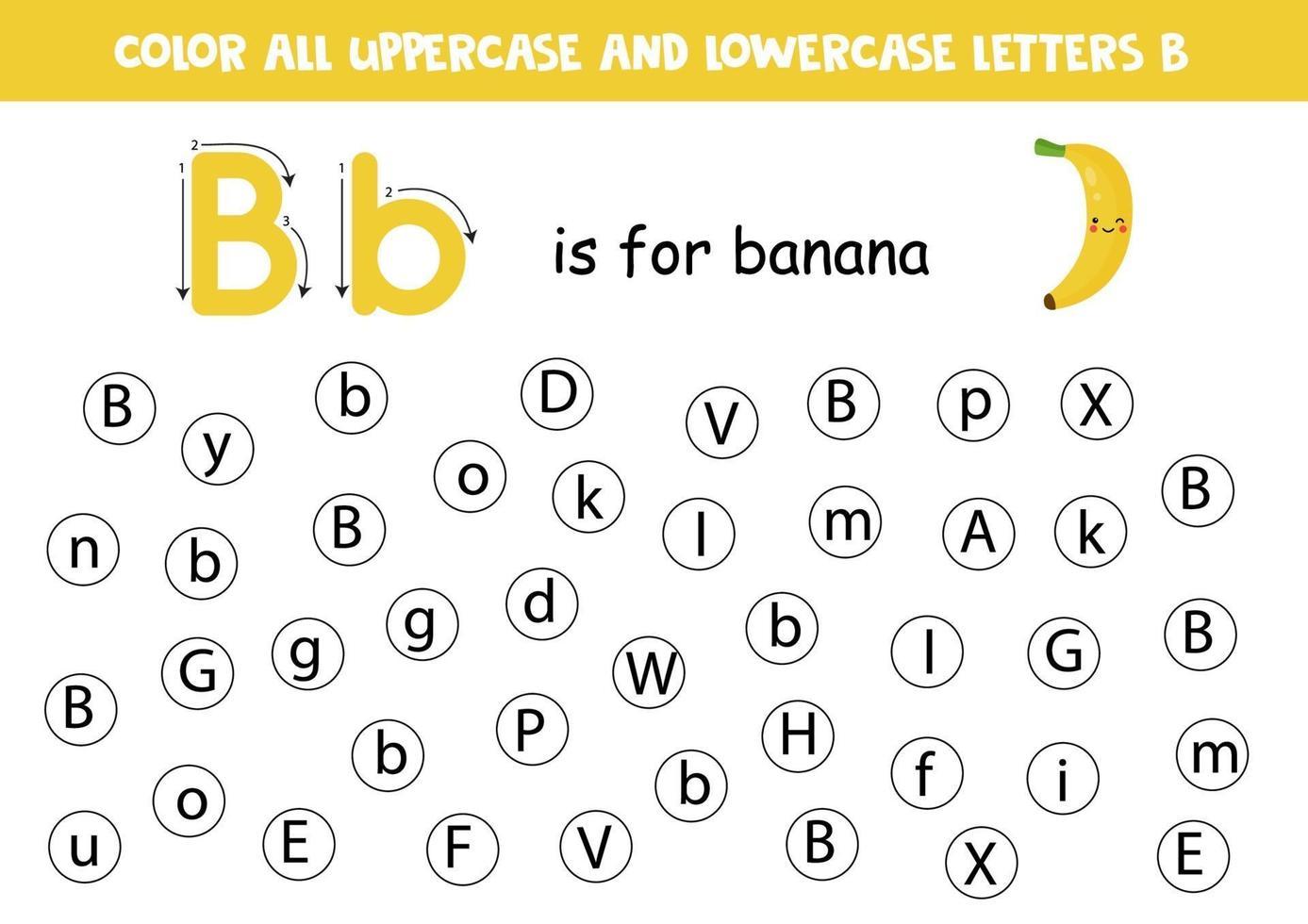 foglio di lavoro alfabeto. trova tutte le lettere bb. lettere punto. vettore