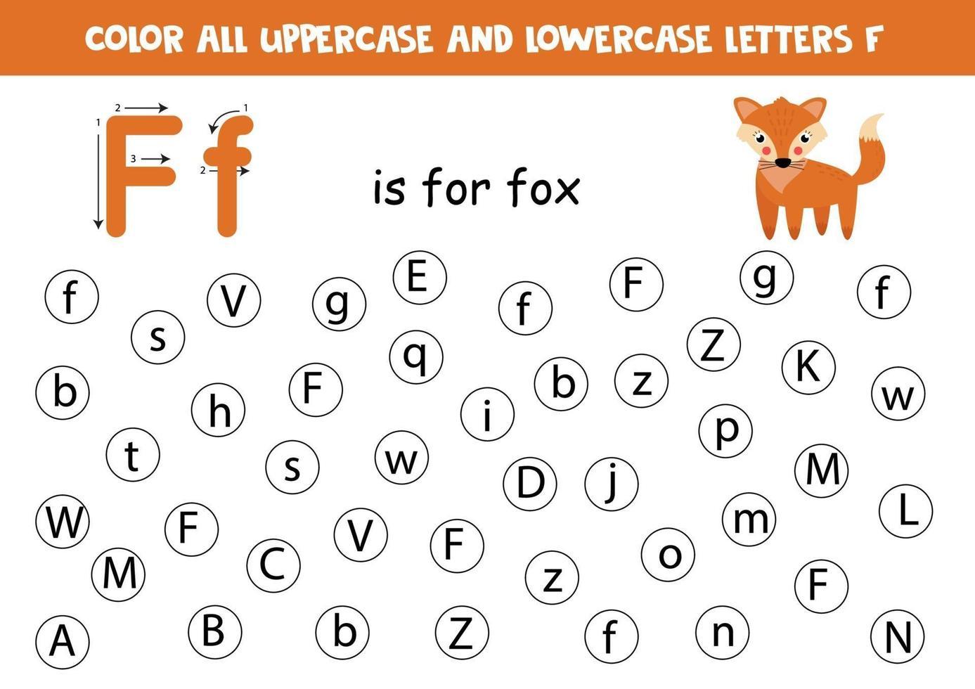 trova e colora tutte le lettere f. giochi di alfabeto per bambini. vettore