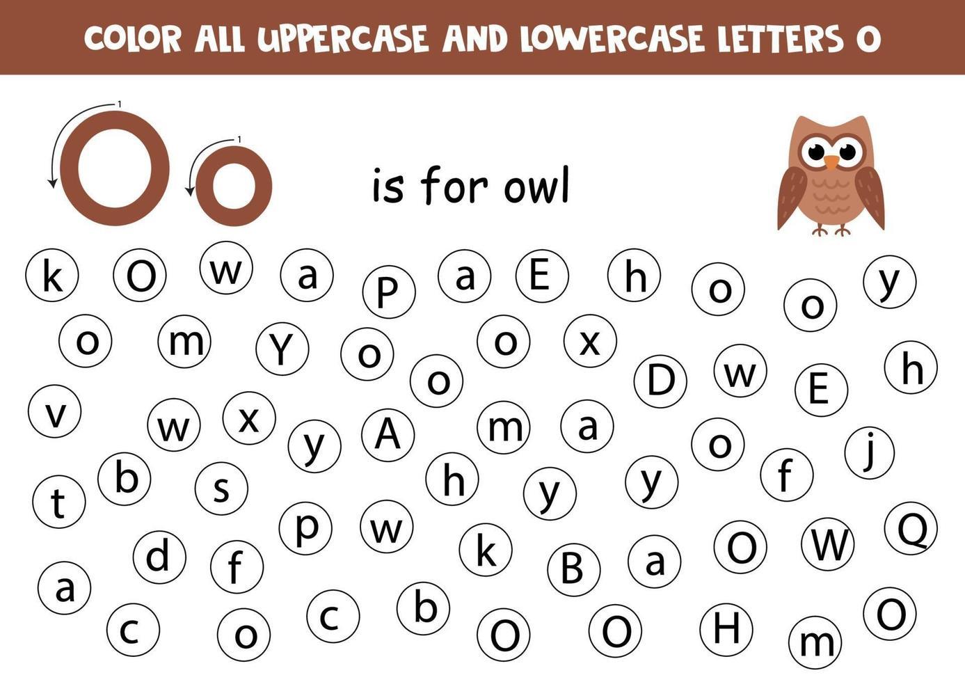 trova e colora tutte le lettere o. giochi di alfabeto per bambini. vettore