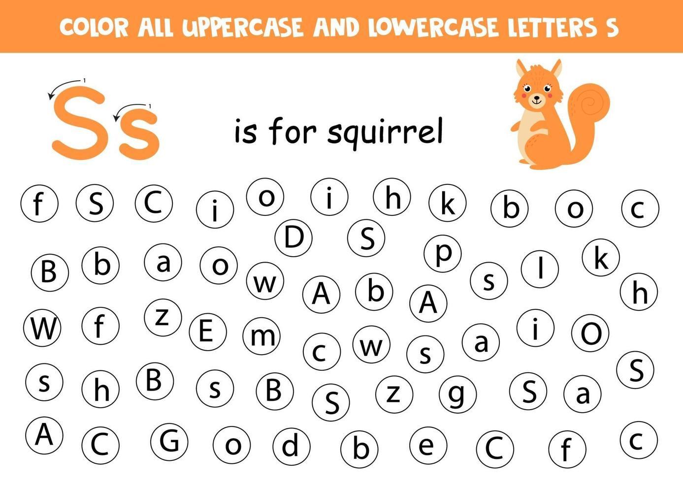 trova e colora tutte le lettere s. giochi di alfabeto per bambini. vettore