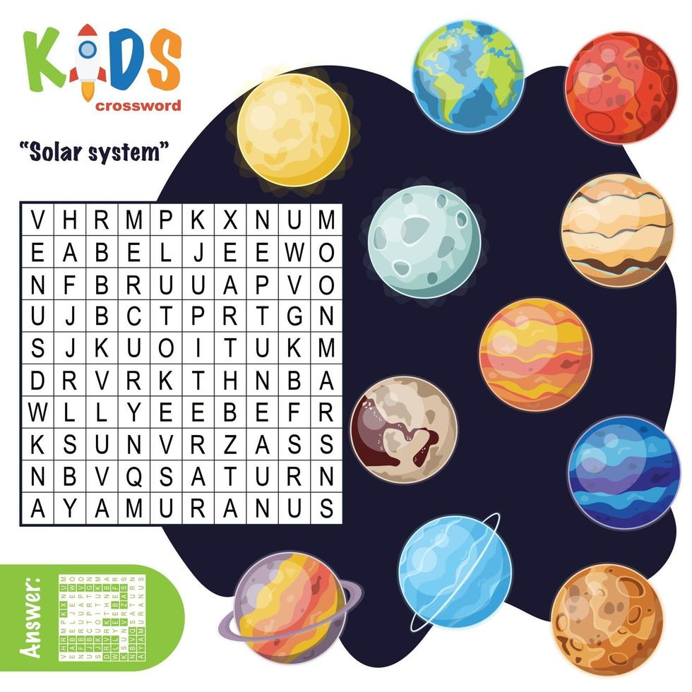 Cruciverba di ricerca di parole del sistema solare vettore