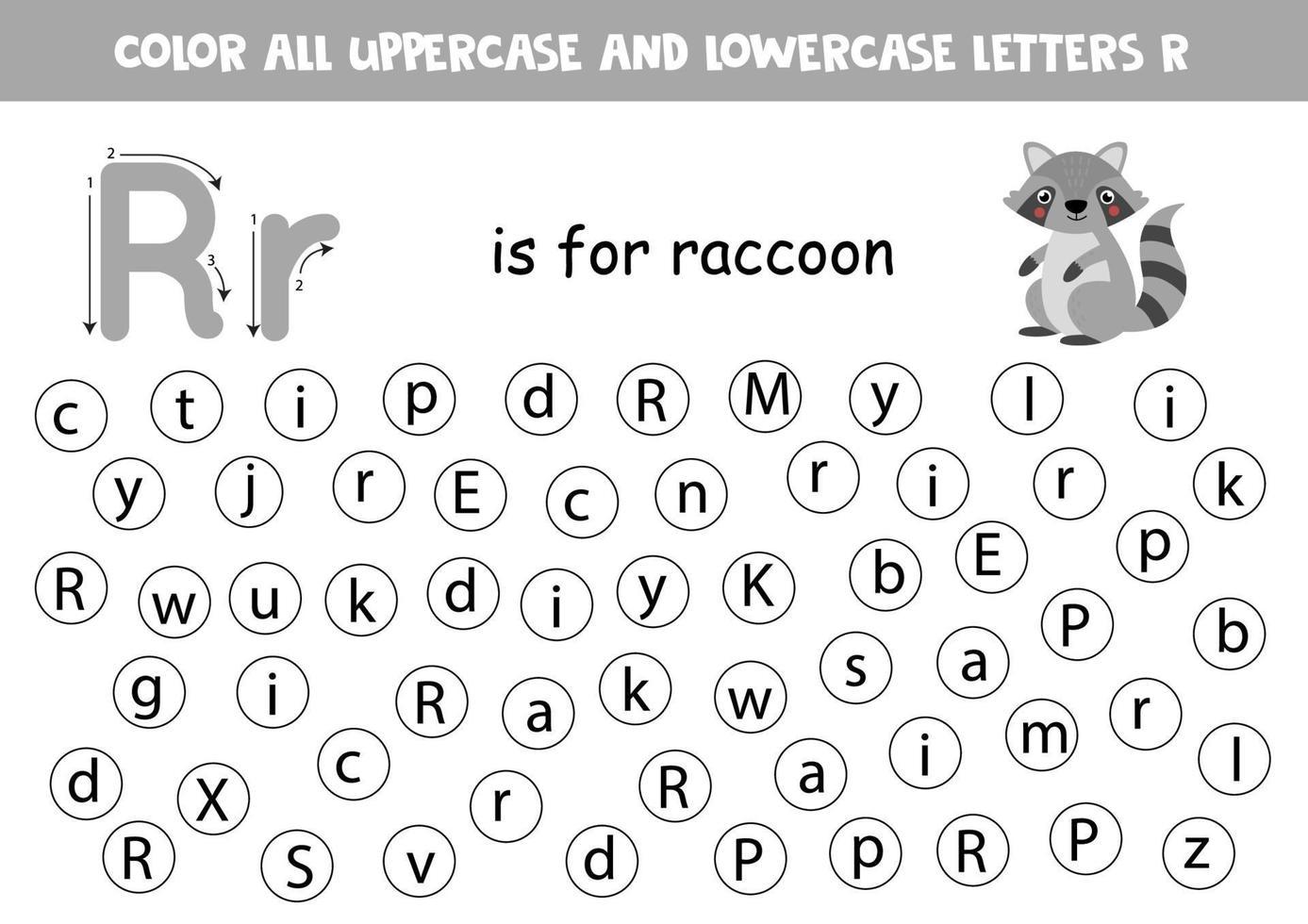 foglio di lavoro alfabeto. trova tutte le lettere r. lettere punto. vettore