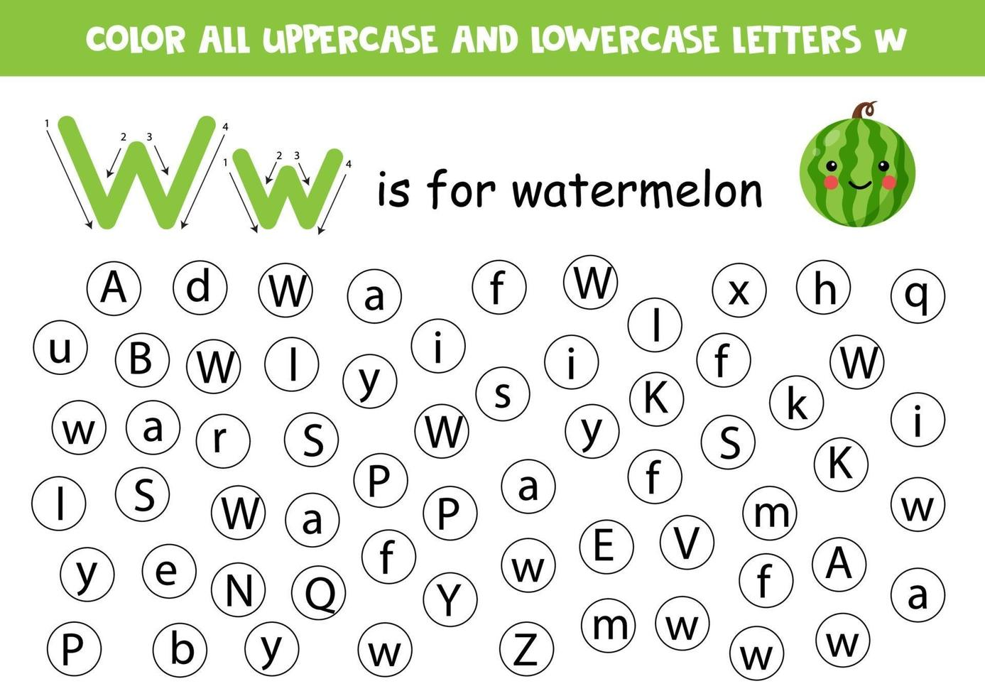 trova e colora tutte le lettere w. giochi di alfabeto per bambini. vettore