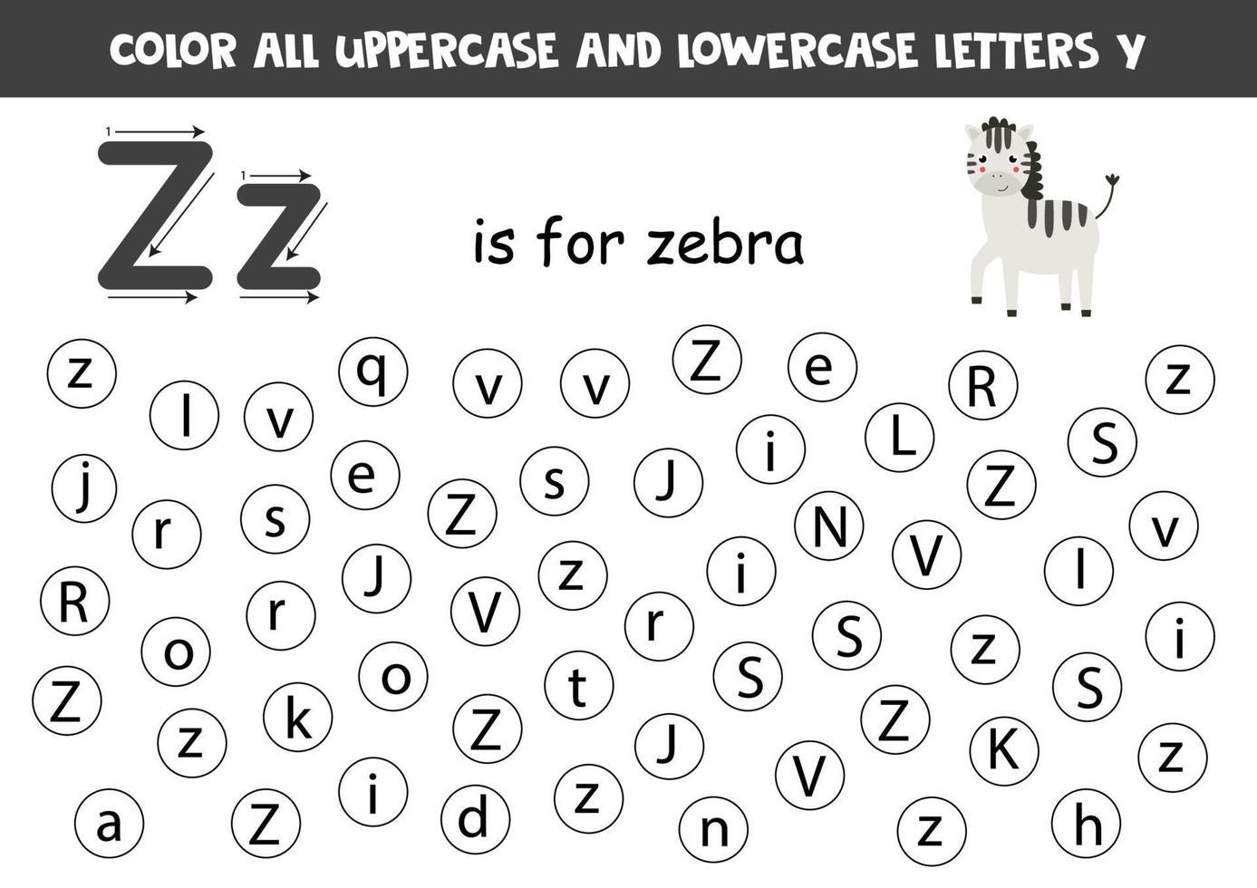 trova e colora tutte le lettere z. giochi di alfabeto per bambini. vettore