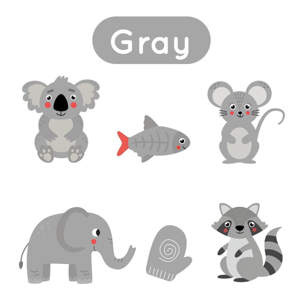 apprendimento del colore grigio per bambini in età prescolare. foglio di lavoro educativo. vettore