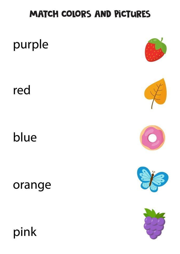 abbina i colori agli oggetti. gioco educativo per praticare i colori. vettore