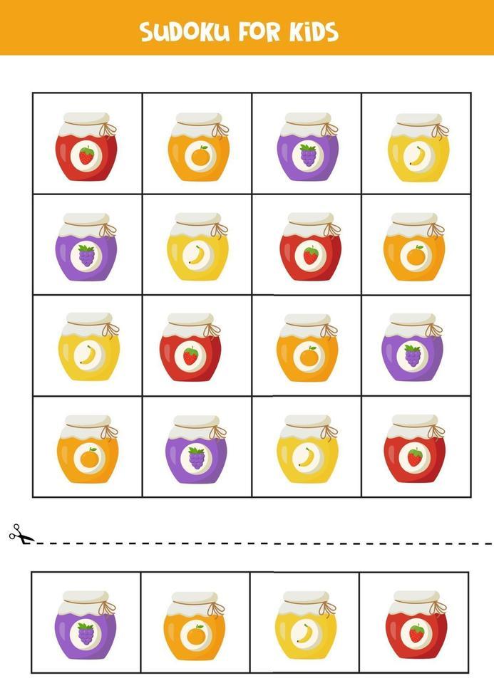 sudoku con simpatici vasetti di marmellate colorate e gustose. vettore