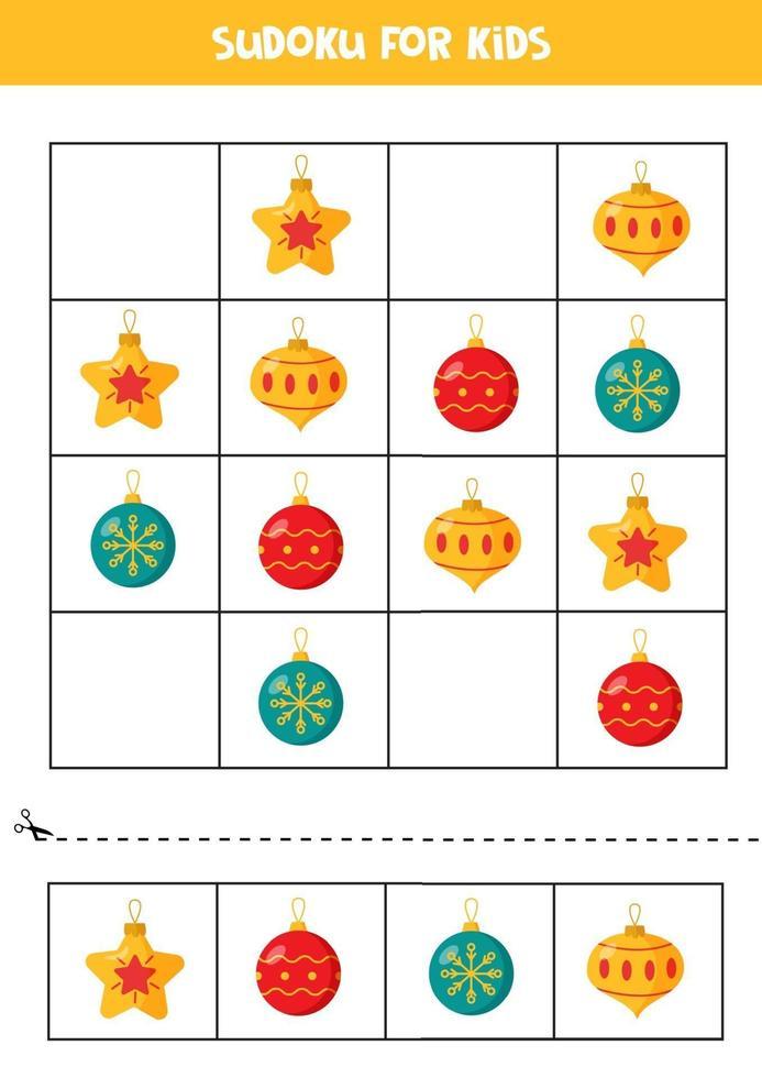 gioco di puzzle di sudoku per bambini in età prescolare. set di palle di Natale. vettore