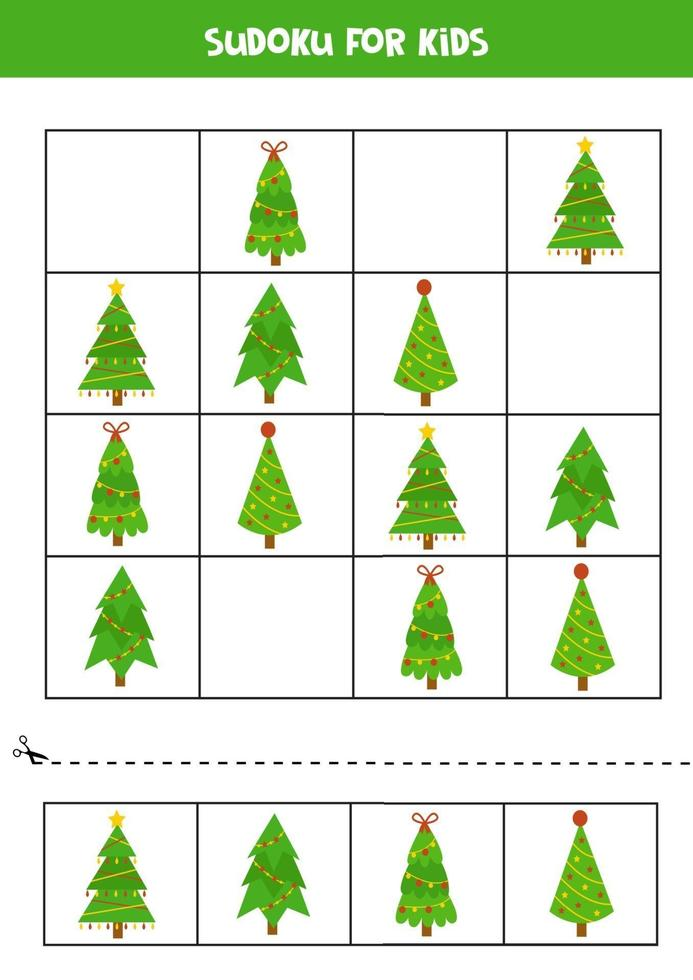 gioco di puzzle sudoku con simpatici alberi di Natale. vettore