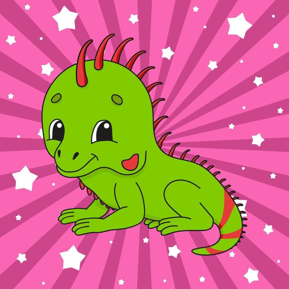 adesivo simpatico animale iguana vettore