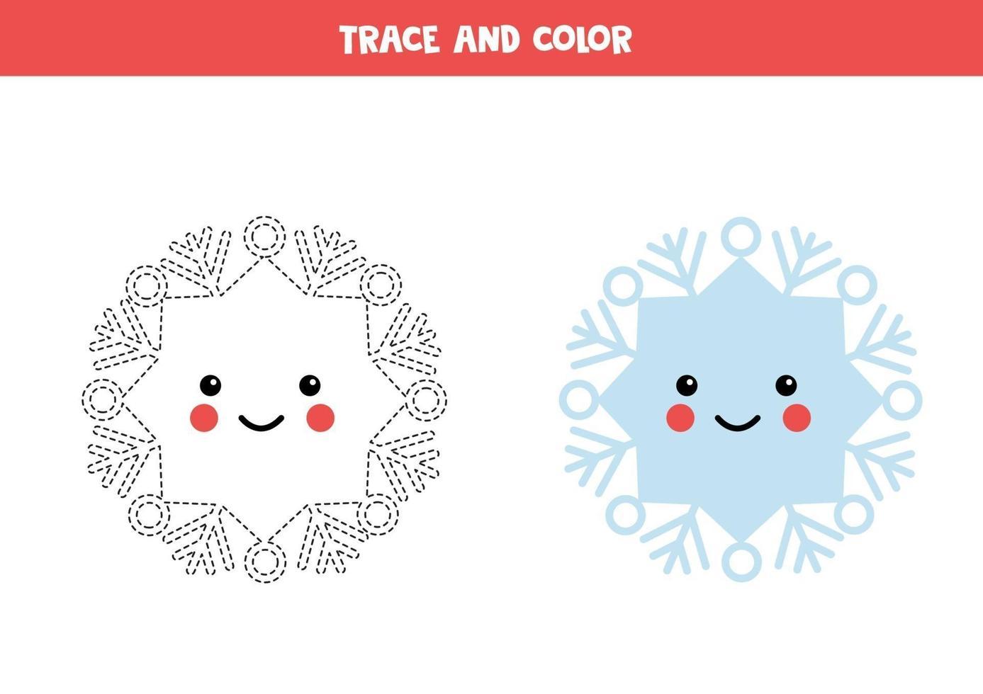traccia e colora il fiocco di neve kawaii. pratica di abilità di scrittura. vettore