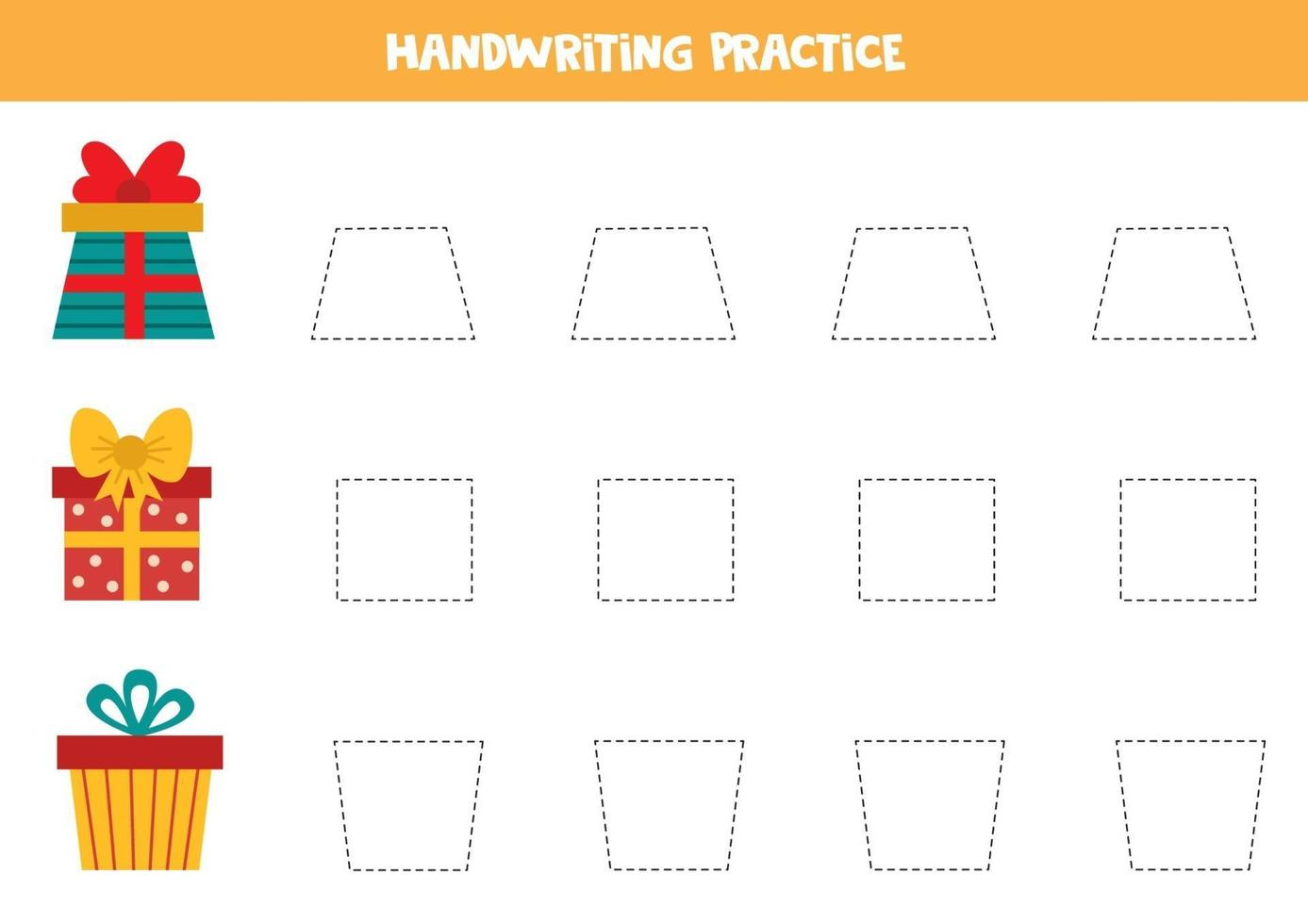 tracciare linee con scatole regalo dei cartoni animati. pratica della scrittura a mano. vettore