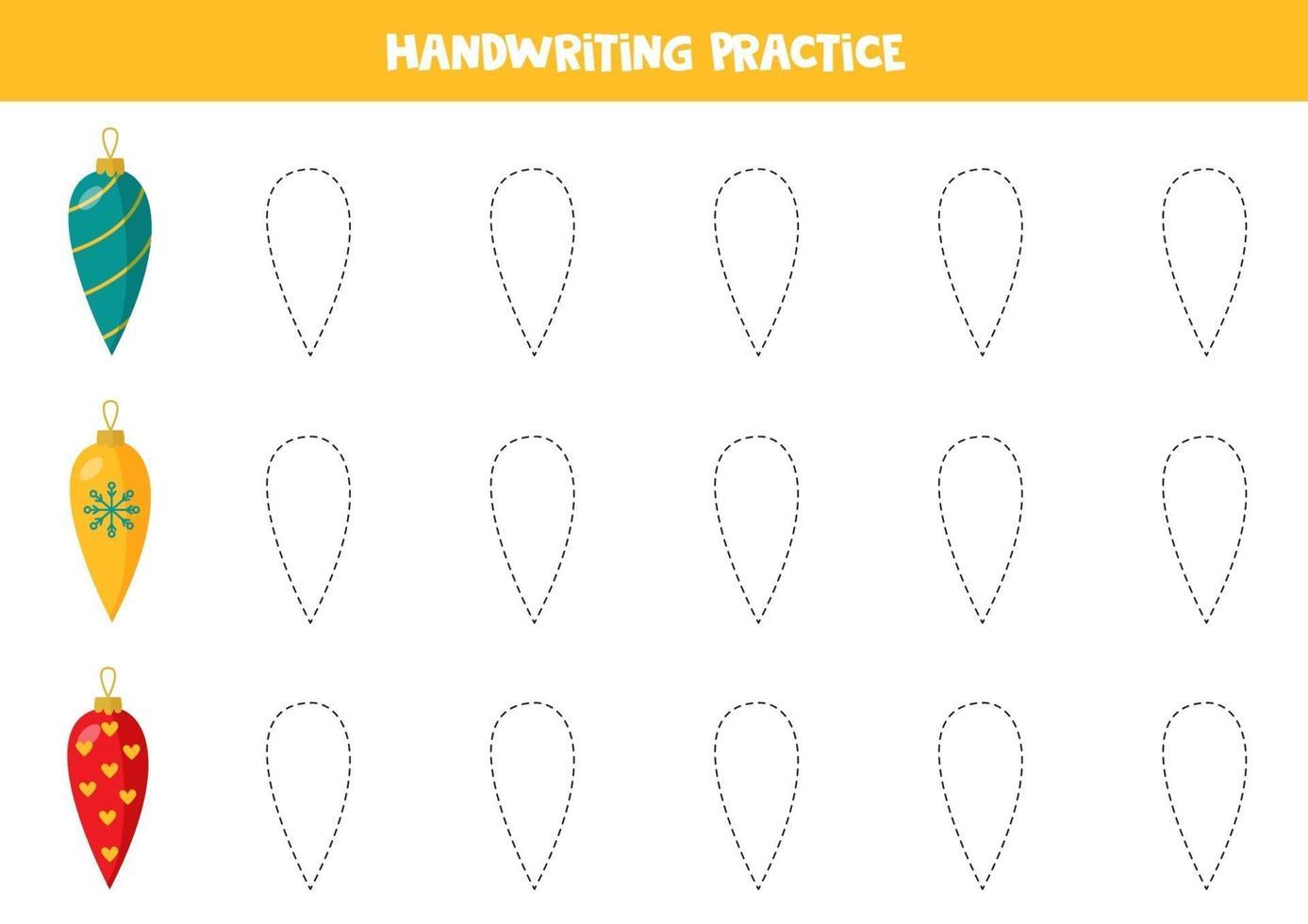 tracciare linee con palle di Natale. pratica di abilità di scrittura. vettore