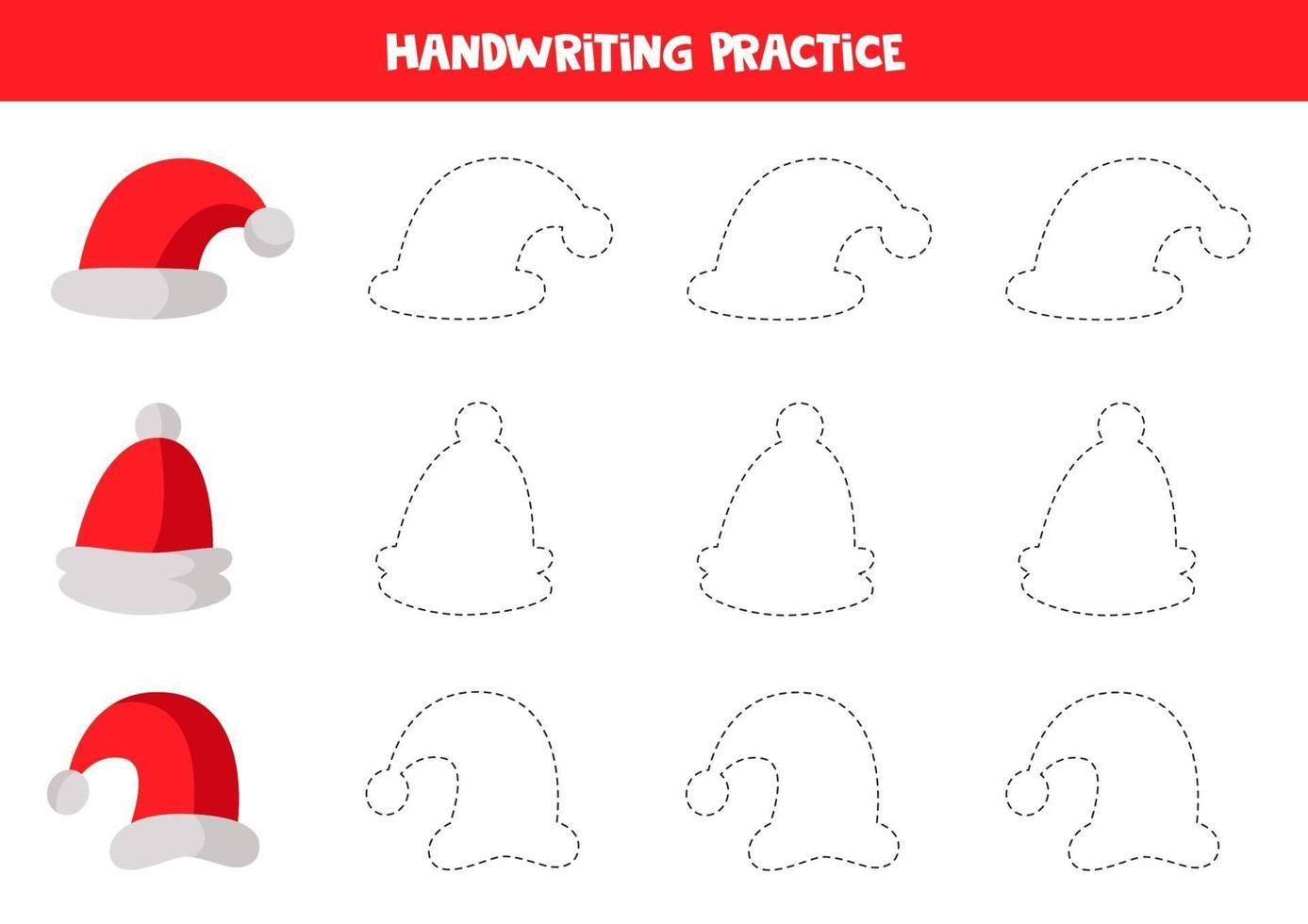 tracciare linee per bambini. traccia i contorni dei cappellini rossi di Babbo Natale. vettore