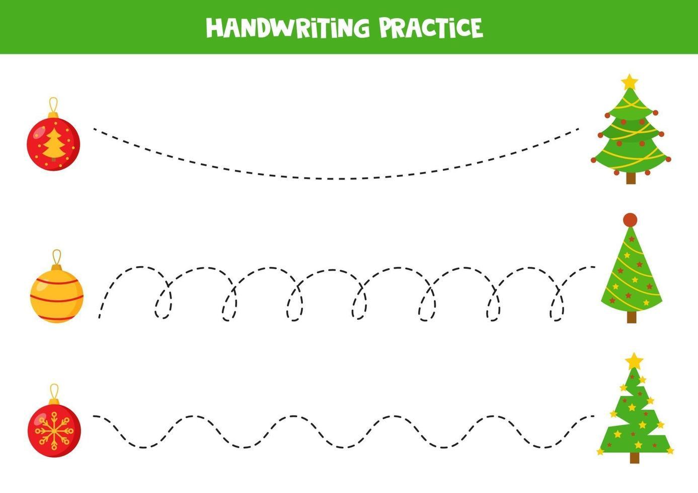 traccia le linee con abeti natalizi e palline. vettore