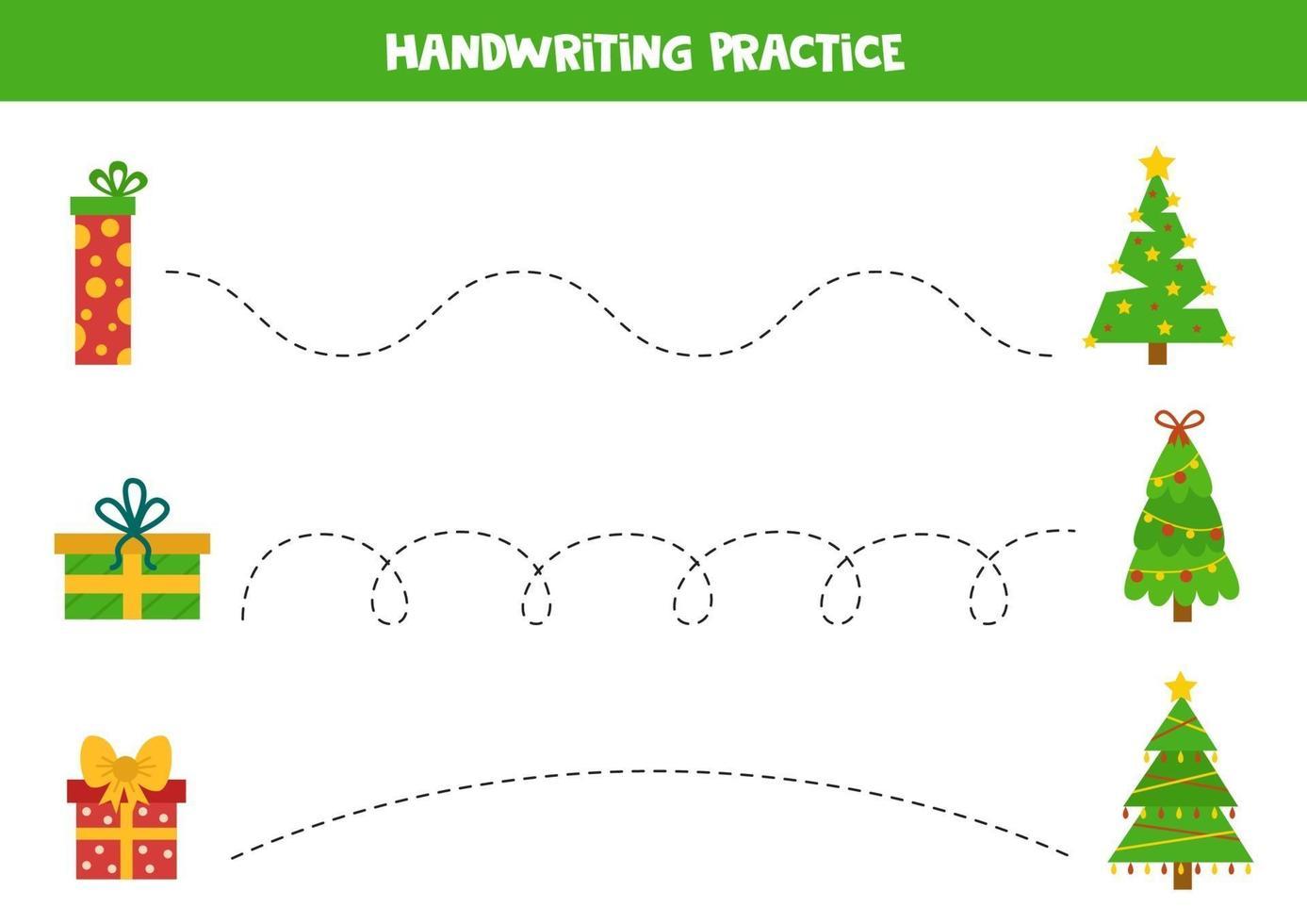 tracciare linee con scatole regalo di Natale e abeti. vettore