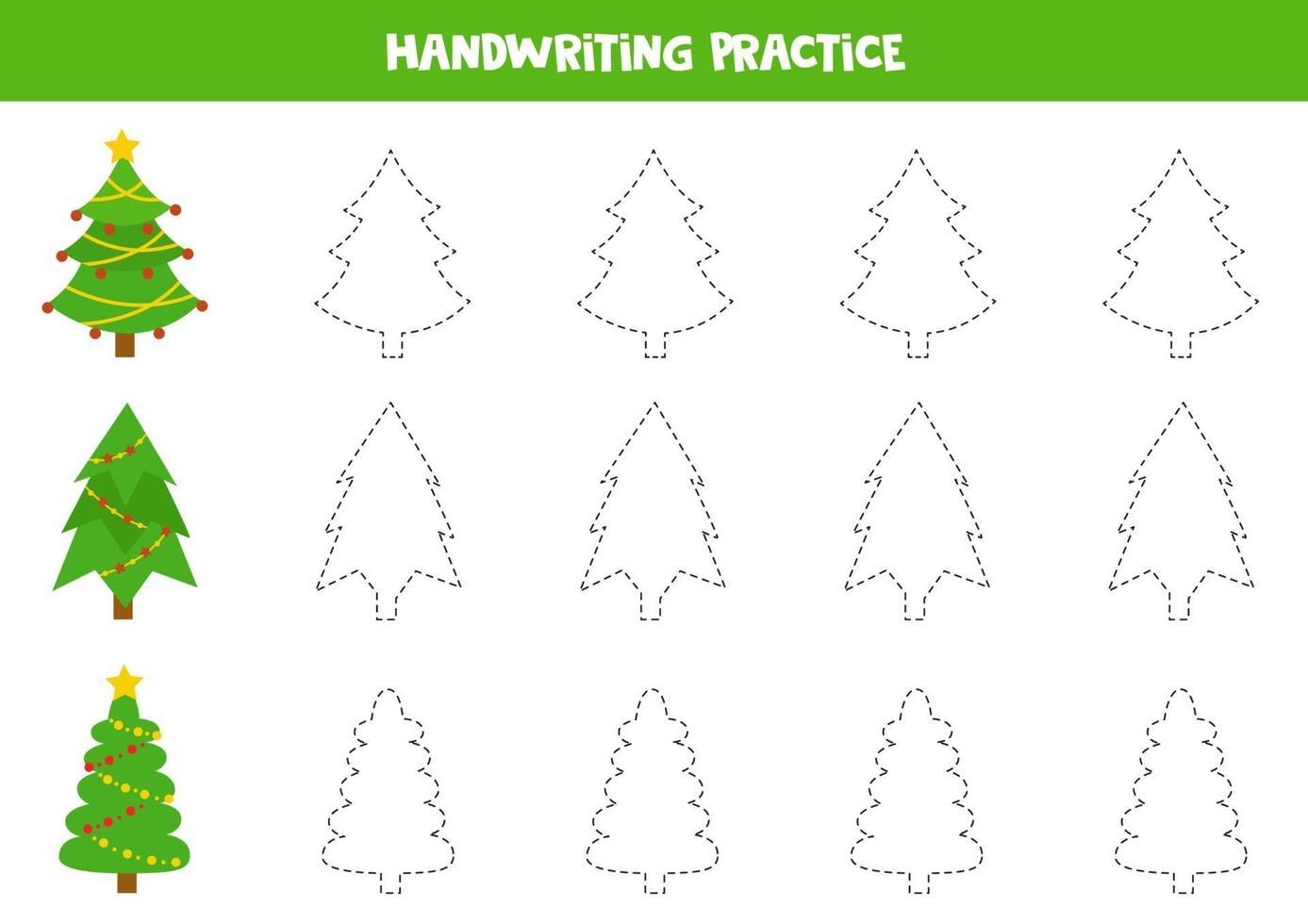 pratica di abilità di scrittura. tracciare linee con abeti di Natale. vettore