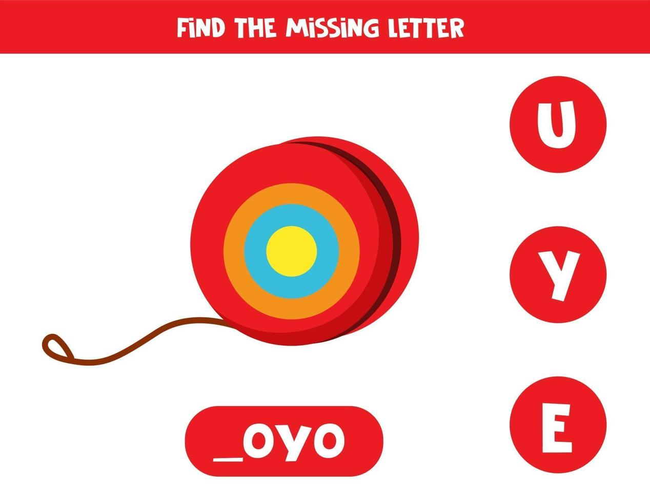 trova la lettera mancante con yoyo simpatico cartone animato. vettore