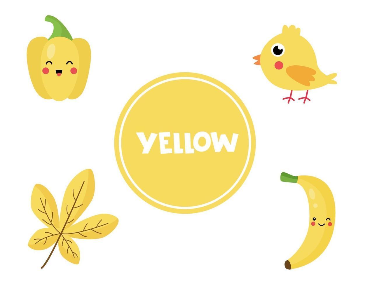 imparare il colore giallo per i bambini in età prescolare. foglio di lavoro educativo. vettore