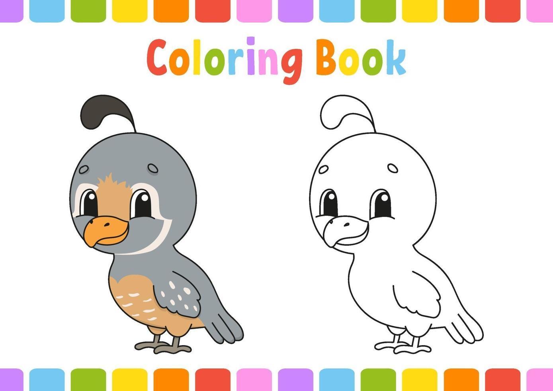 libro da colorare con quaglia vettore