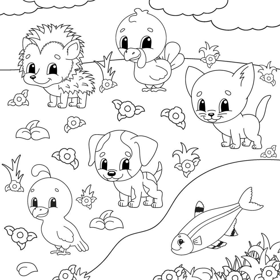 libro da colorare con animali felici vettore