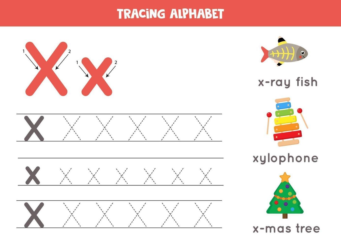 pratica della scrittura a mano con la lettera dell'alfabeto. traccia x. vettore