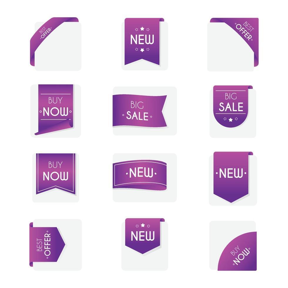 distintivi di vendita impostati vettore