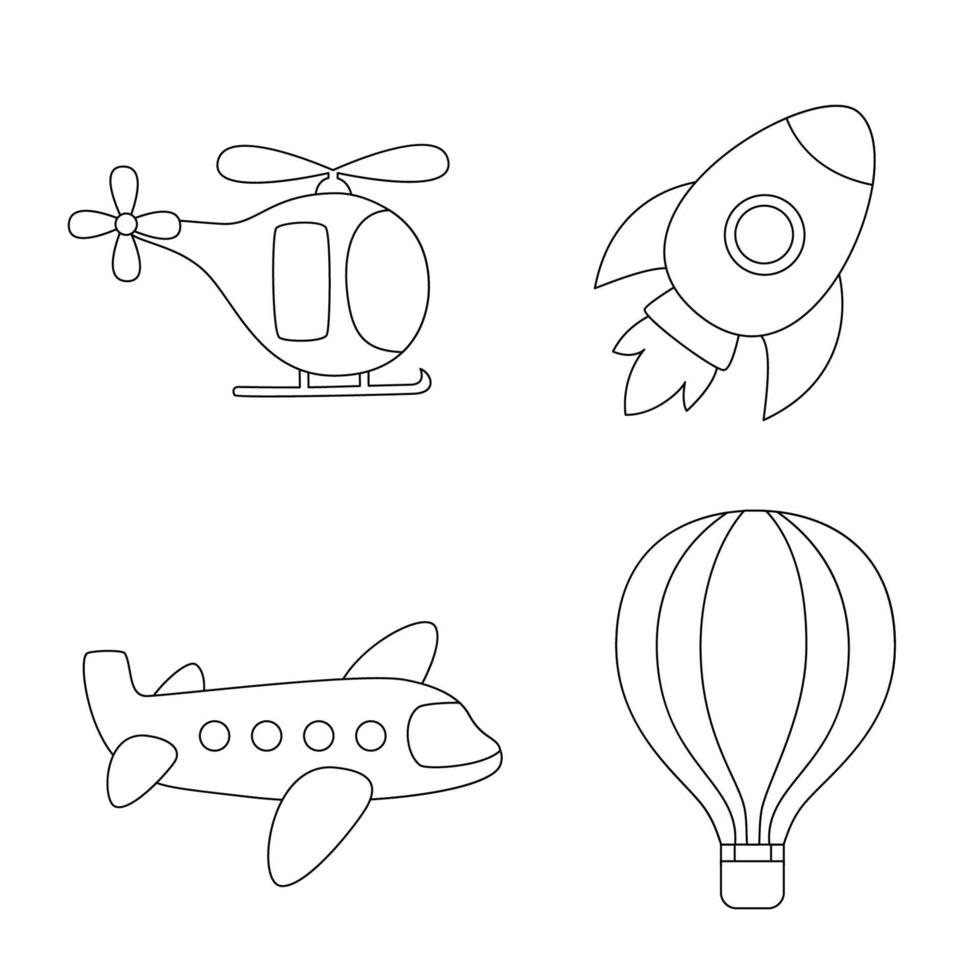 trasporto aereo di colore. pagina da colorare per bambini. vettore