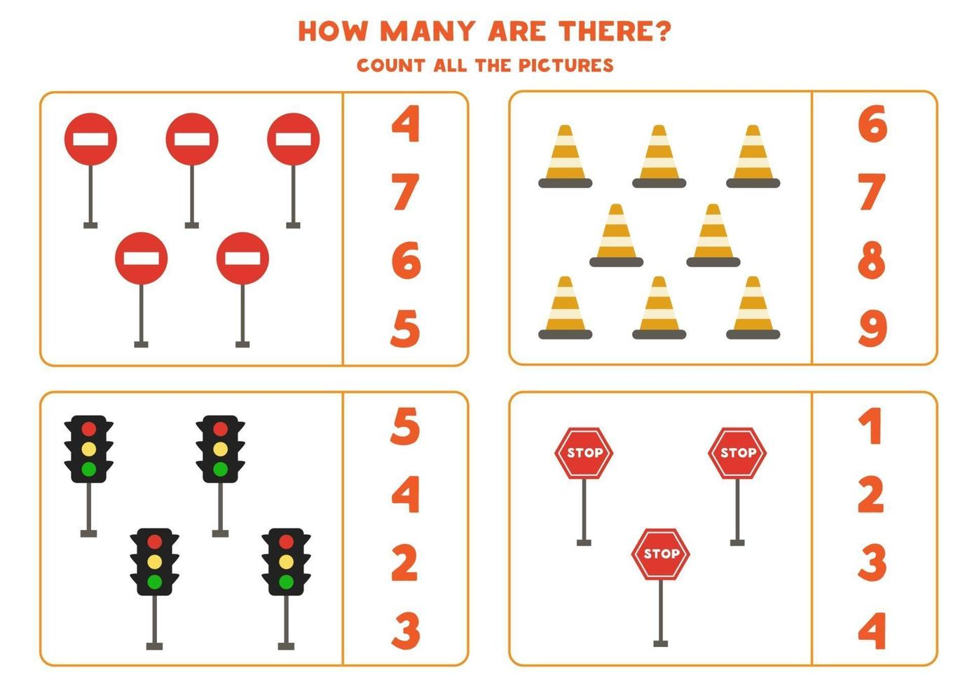 gioco di conteggio con semafori e cartelli. foglio di lavoro di matematica. vettore