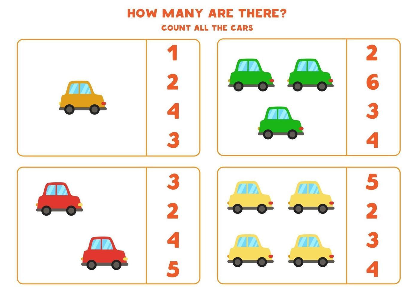conteggio del gioco con le auto. foglio di lavoro di matematica. vettore