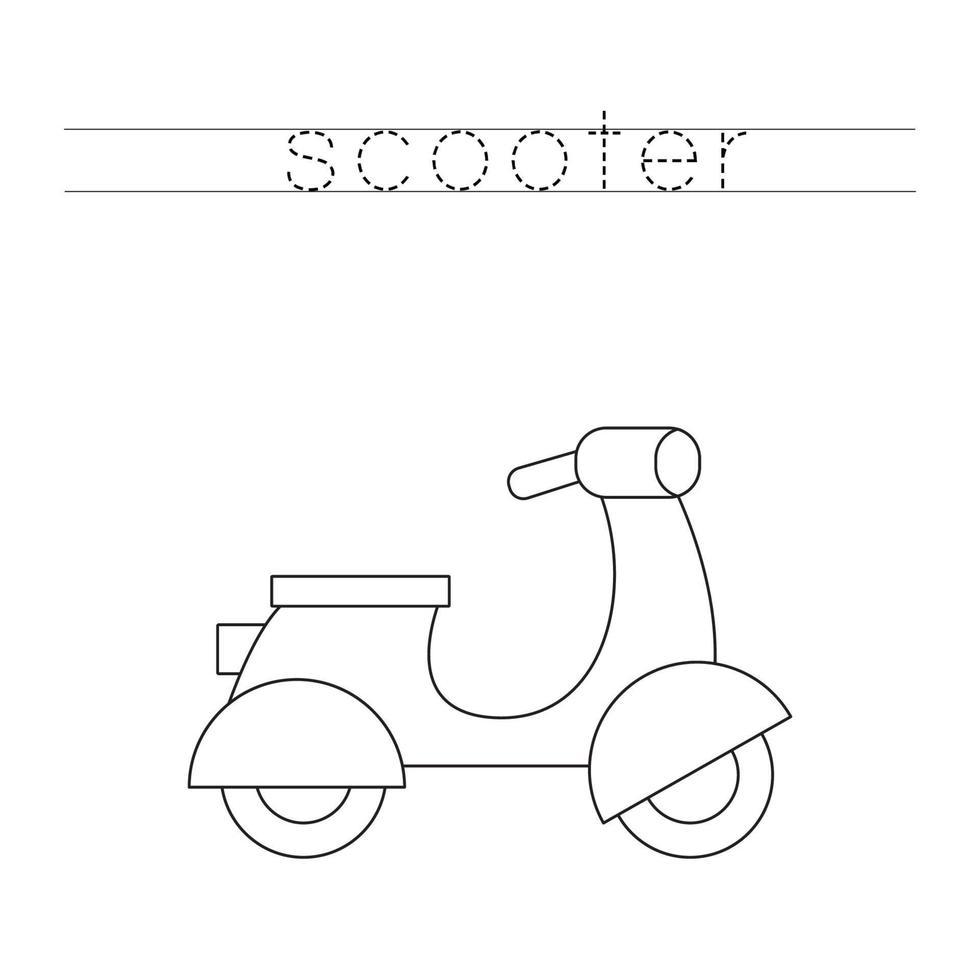 tracciando lettere con scooter a motore dei cartoni animati. Pratica di scrittura. vettore