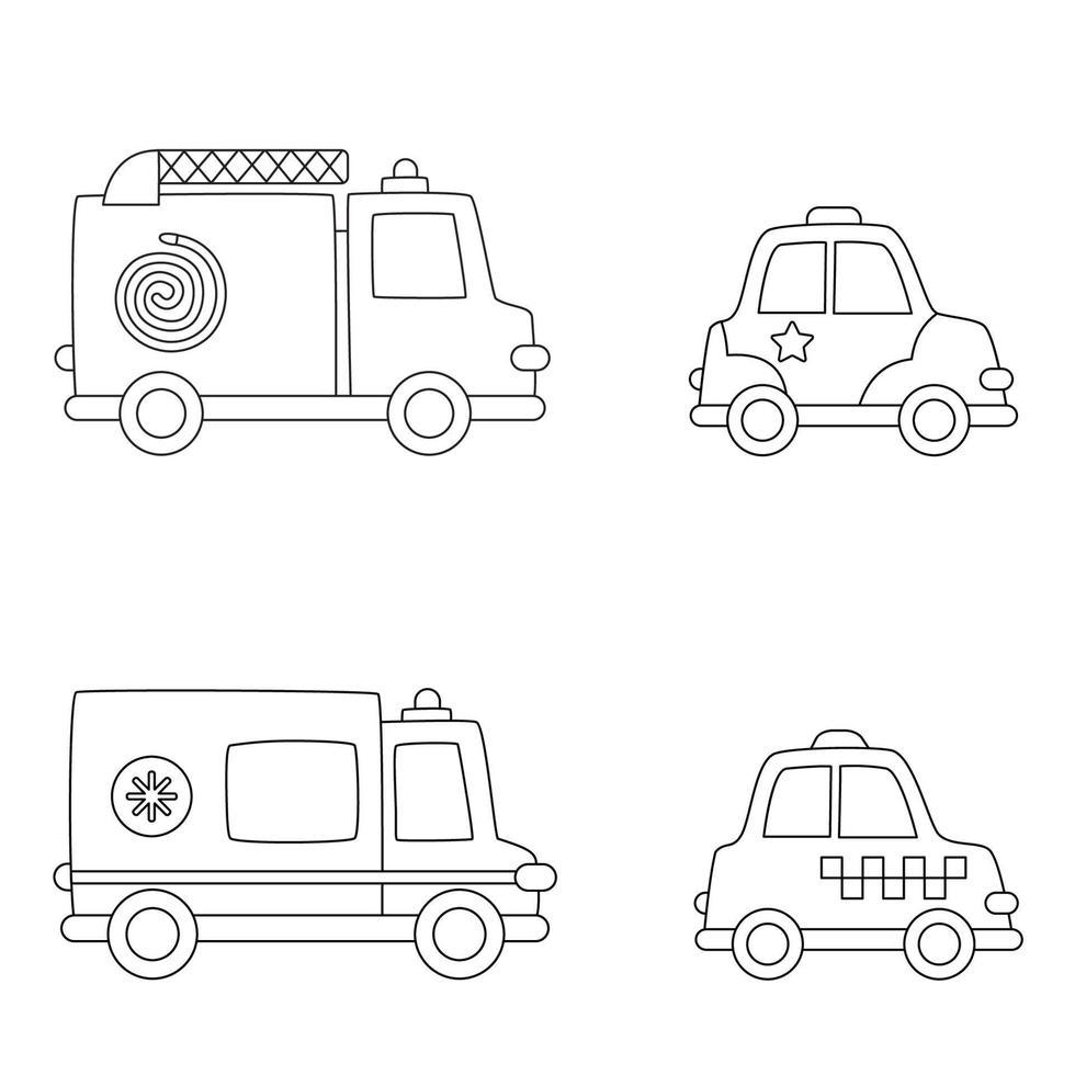 mezzi di trasporto di colore. pagina da colorare per bambini. vettore