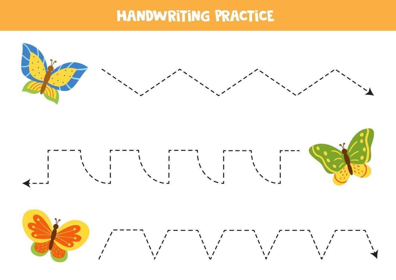 traccia le linee con graziose farfalle. Pratica di scrittura. vettore