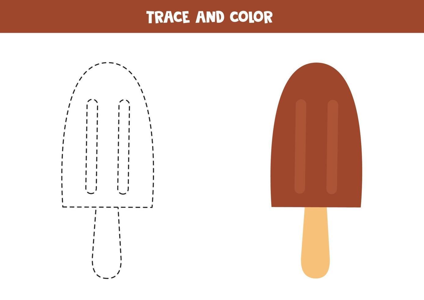 tracciare e colorare il gelato al cioccolato. foglio di lavoro spaziale per bambini. vettore