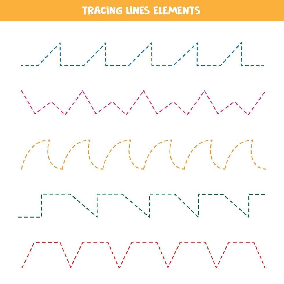 diversi tipi di linee tratteggiate per esercitarsi nella scrittura. traccia le linee. vettore