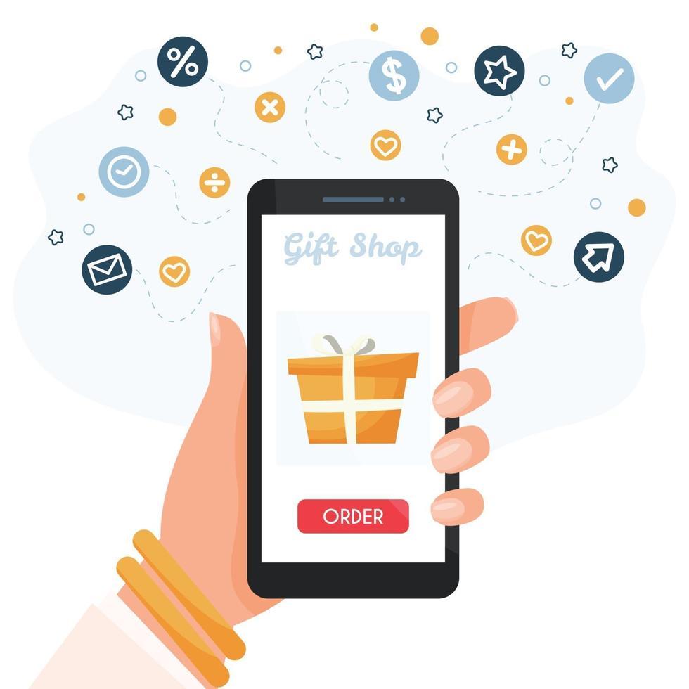 shopping online su smartphone vettore