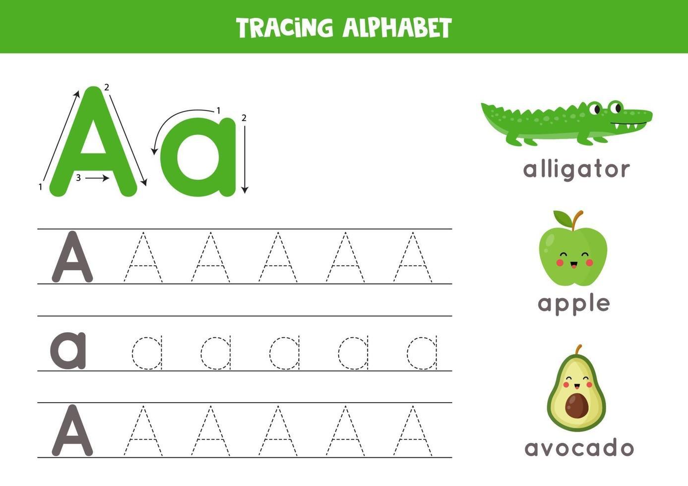 pratica della scrittura a mano con la lettera dell'alfabeto. tracciare a. vettore