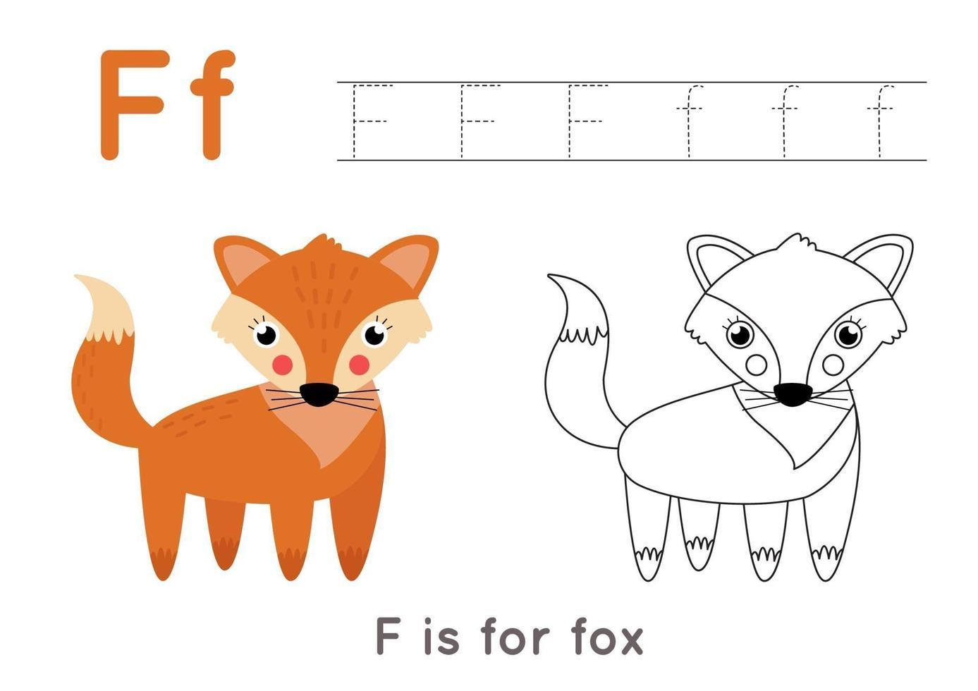 pagina da colorare e tracciare con la lettera f e una volpe simpatico cartone animato. vettore